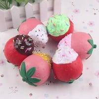 8CM Kawaii Cream Strawberries Cake Squishy Toy Simulation Slow Rising Squeeze Kid Anti-stress Pretend Play Props WJ812 P15