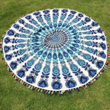 Colorful Tassel Indian Mandala Wall Hanging Yoga Mat Gypsy Cotton Tablecloth White Round Beach Throw