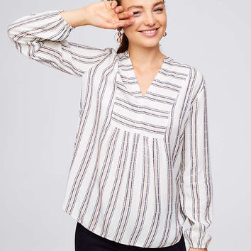 Striped Split Neck Blouse | LOFT