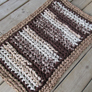 "S'mores Rug 34""x22"" Crochet Rag Rug Rectangle Cotton Washable Soft Handmade Bathmat Kitchen Country Log Cabin Prim Brown Tan Cream Homespun"