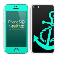 Solid Black and Trendy Green Anchor Skin For The iPhone 5c