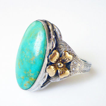 Clark and Coombs Ring Sterling Silver 10K Gold Filled Turquoise Stone Vintage Jewelry
