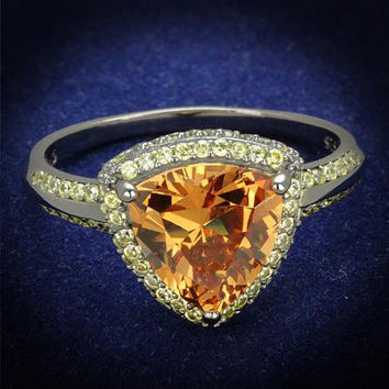 A Perfect 3CT Trillion Cut Golden Russian Lab Diamond Ring Diamond Fancy Yellow Accents