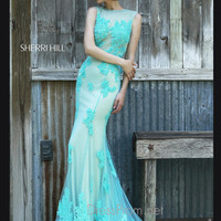 Sleeveless Illusion Neckline Formal Prom Gown By Sherri Hill 4325