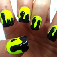Glue On Nails Neon 3D Drippy Acid HAZpunk by NailKandy on Etsy