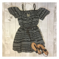 """Adorable Me"" Open Shoulder Tribal Print Dress"