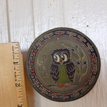 Vintage Owl Wall Hanging Bronze  And Enamel Dusty Aged AOE  Wisdom Alpha Theta Epsilon 1950s Minerva 3.5 Inches