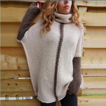 Women Long-Sleeved Knitted High-Neck Sweater Top