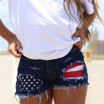 American flag shorts Levis High waisted Denim Shorts