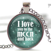 I Love You to the Moon and Back Necklace, Word Jewelry, Your Choice of Finish (1270)