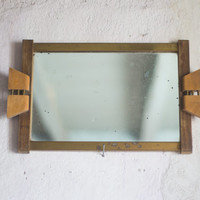 French Mirror Tray made of Wood and Brass