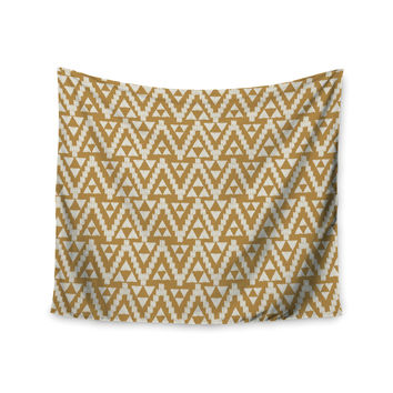 "Amanda Lane ""Geo Tribal Mustard"" Yellow Aztec Wall Tapestry"