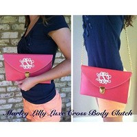 Monogrammed Beige Luxe Cross Body Clutch