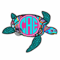 Custom Paisley Sea Turtle Sticker - Colorful Design Cute Car Decal Personalized Initial Laptop Bumper Sticker Beach Sea Turtle Wall Decal