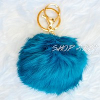 Teal Fur Ball Keychain