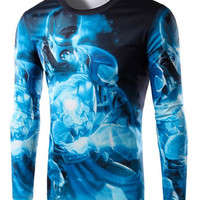 Blue Iron Man Print Long Sleeve T-Shirt
