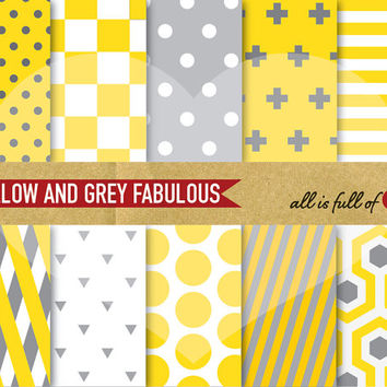 DIGITAL Paper Pack YELLOW and GREY Geometric Printable Set Fabulous collection scrapbooking backgrounds - instant download