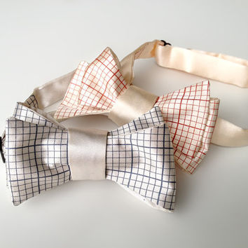 Engineering graph paper bow tie. Math teacher, science, engineer or geek gift. Grid paper bowtie. Choose dark salmon print & more!