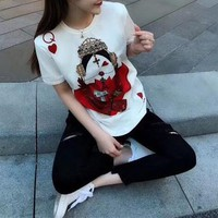 """Dolce & Gabbana"" Fashion Poker Cards Love Heart Queen Pattern Print Women Casual Short Sleeve T-shirt Top Tee"