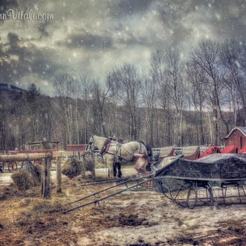 Vermont Art, Log Cabin Art, Winter Art, New England, Winter Scenes,  Vintage Winter Snow Scene, Horse and Carriage,  Stowe Vermont