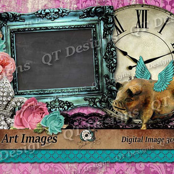 Instant Download Clip Art Western Country Funky Gypsy Theme Graphic Design Pack, Picture Frame, Leapord Print, Lace, Flower, Butterfly
