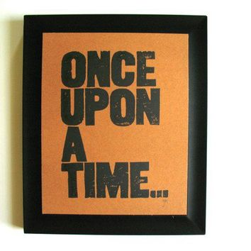 PRINT Once upon a time BLACK LINOCUT on by thebigharumph on Etsy