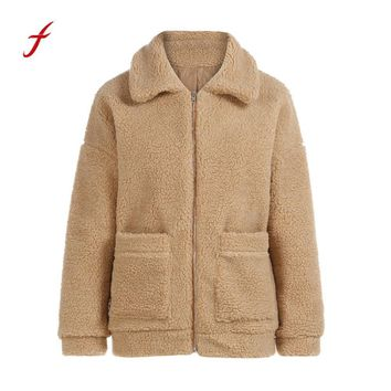 FEITONG Winter Jacket Women Fashion Sweater Coat Keep Warm Wool Zipper coat Outwear Casual Solid Turn-down Collar Khaki Overcoat