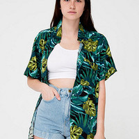 Unisex Printed Rayon Short-Sleeve Button-Up Shirt