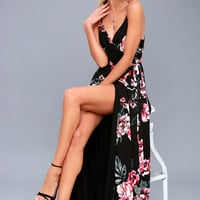 Floral Flirtation Black Floral Print Wrap Maxi Dress