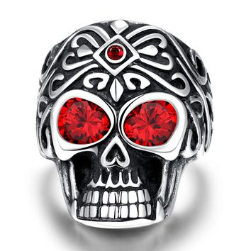Tuker New US Size 8-12 Punk Rock Stainless Steel Mens Rings Vintage Gothic Jewelry Silver Color Red eyes Skull Ring Men