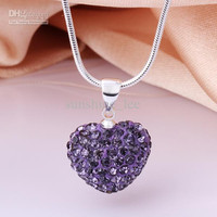 "Saucy Clay Disco Crystal Heart Pendant Nice Shamballa Necklace 925 Silver Necklace 18"" 32pcs"