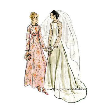 1970s WEDDING DRESS PATTERN Boho Bridal Gown with Square Neckline, Bridesmaid Dress Pattern Vogue 2809 Bust 34 Vintage Sewing Patterns UNCuT