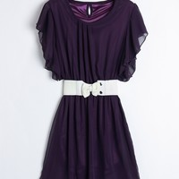Solid Color Scoop Neck Short Sleeves Sweet Style Flounce Edge Chiffon Women's Dress