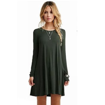Plus Size Long Sleeve Casual Loose Pleated Party Dresses