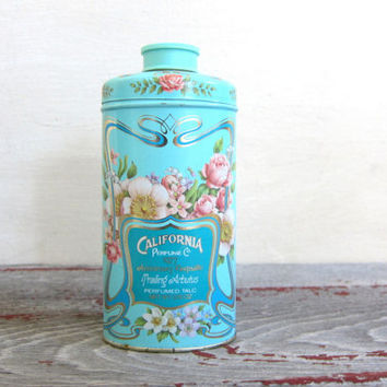 Vintage Robins Egg Blue Avon California Perfume Company Talcum Powder Tin 1970's