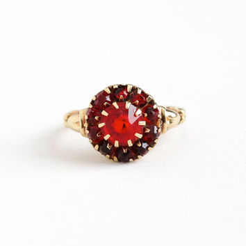 Vintage 10k Rosy Yellow Gold Simulated Ruby Cluster Heart Ring - Art Deco 1940s Size 7 1/4 Red Glass Stone Fine Halo Jewelry