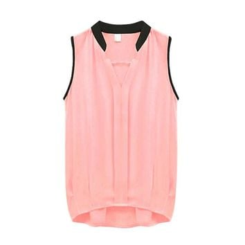 Women's Sleeveless Vest Casual Chiffon Business Loose Tops Blouse Tank Office Lady Type