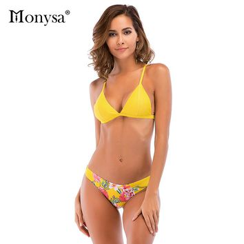 Monysa Sexy Bikini Women 2018 Summer Floral Printed Swimsuit Low Waist Push Up Bikini Set Swim Wear Women Bandages Bathing Suit