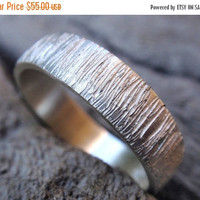 SALE 10% OFF wood grain wedding band ring sterling silver tree bark textured wedding ring for men and women 5mm handmade wedding band