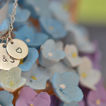 Tiny two discs necklace, Initials necklace with heart symbol, Couples necklace, Silver disc necklace, Dainty delicate customized necklace