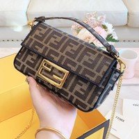 FENDI Retro Popular Women Shopping Bag Leather Satchel Crossbody Shoulder Bag
