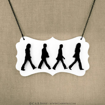 Abbey Road Necklace  The Beatles   Acrylic Laser Cut by CABfayre