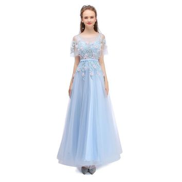 New Evening Dress Fresh Light Blue Lace Flower With Shawl Floor-length Banquet Elegant Prom Formal Party Gowns