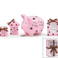 4 Piece Baby Girl Gift Set With Piggy Bank,First Curl, First Tooth,Photo Frame.Great Keepsake Gift