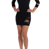 Sexy Little Black Get Ripped Cut Out Slashed Sleeve Club Party Mini Dress
