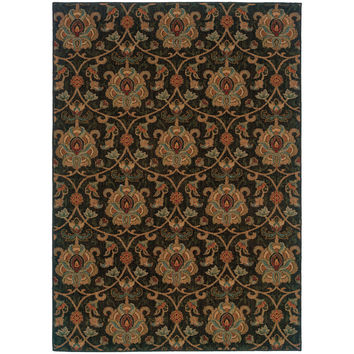 """Infinity 1724E Floral Black-Gold Area Rug (3'10"""" X 5'5"""")"""