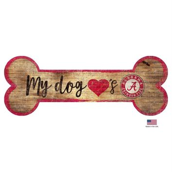 Alabama Crimson Tide Distressed Dog Bone Wooden Sign