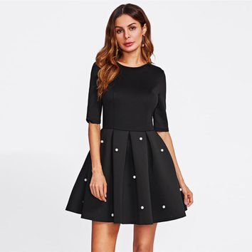Pearl Beading Boxed Pleated Flare Party Dress Black Round Neck Half Sleeve A Line Dress Women Elegant Dress