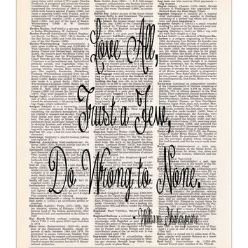 Shakespeare Quote - Love All - Dictionary Print