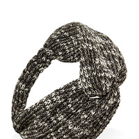 FOREVER 21 Marled Knit Knotted Headwrap Black/Cream One